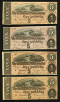 Confederate Notes:1864 Issues, T69 $5 1864 PF-1; PF-9; PF-10 (2) Cr. 558; 563; 564 (2).. ... (Total: 4 notes)