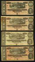 Confederate Notes:1864 Issues, T68 $10 1864 (4) PF-1?; PF-8; PF-10; PF-27.. ... (Total: 4 notes)