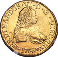Chile, Chile: Ferdinand VI gold 8 Escudos 1756/5 So-J AU Details(Chopmarked) NGC,...
