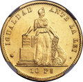 Chile, Chile: Republic gold 10 Pesos 1881-So MS62 NGC,...
