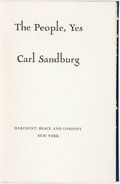 Books:Americana & American History, Carl Sandburg. SIGNED/LIMITED. The People, Yes. New York:Harcourt, Brace and Company, [1936]. ...