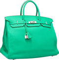 "Luxury Accessories:Bags, Hermes 40cm Menthe Clemence Leather Birkin Bag with Palladium Hardware. P Square, 2012. Excellent Condition. 15.5""..."