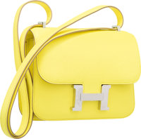Hermes 18cm Soufre Epsom Leather Double Gusset Constance Bag with Palladium Hardware Q Square, 2013