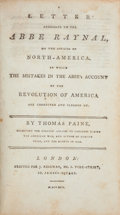 Books:Americana & American History, Thomas Paine. A Letter Addressed to the Abbe Raynal, on theAffairs of North America,... London: 1792....
