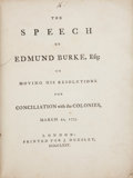 Books:Americana & American History, [Edmund Burke]. The Speech of Edmund Burke, Esq; on Moving HisResolutions for Conciliation with the Colonies. March 22,...
