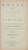 Books:Americana & American History, Thomas Jefferson. Notes on the State of Virginia.Philadelphia: Printed for Mathew Carey, 1794. ...