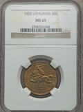 Lithuania, Lithuania: Republic 50 Centu 1925 MS65 NGC,...