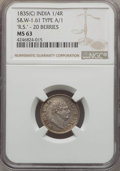 India:British India, India: British India. William IV 1/4 Rupee 1835-(C) MS63 NGC,...