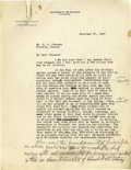 Basketball Collectibles:Others, 1927 James Naismith Typed Letter with Handwritten Notes.. Date: November 30, 1927.. Location: University of Kansas.. L...