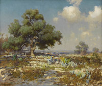 JULIAN ONDERDONK (1882-1922) The Wood Gatherers Oil on canvas 25in. x 30in. Signed lower left  In this tour-de-for