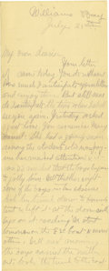 Basketball Collectibles:Others, 1902 James Naismith Handwritten Signed Letter with Signed Envelope.. Date: July 25, 1902.. Location: Williams Bay, Wisco...