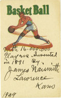"""Basketball Collectibles:Others, 1939 James Naismith Signed Card. Text reads, """"With 16,000,000 players. Invented in 1891 By James Naismith, Lawrence Kans, ..."""