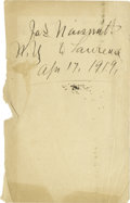 """Basketball Collectibles:Others, 1919 James Naismith Signed Book Page. Blank page removed from bookpresents """"Jas. Naismith, N.Y. to Lawrence, Apr. 17, 1919..."""