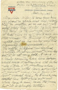 Basketball Collectibles:Others, 1917 James Naismith Handwritten Signed Letter.. Date: October 12, 1917.. Location: France.. Length in pages: Six, on Y...