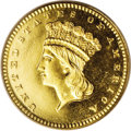Proof Gold Dollars: , 1861 G$1 PR65 Cameo PCGS. The reported mintage for this date was an incredible 349 coins, yet the number of survivors sugge...