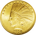 Indian Eagles: , 1914-S $10 MS63 NGC. The fine grain, matte-like surfaces of thisattractive example display a pleasing, softly frosted shee...