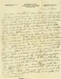 Basketball Collectibles:Others, 1916 James Naismith Handwritten Signed Letter with SignedEnvelope.. Date: August 13, 1916.. Location: Eagle Pass, Texas...