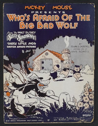 "The Three Little Pigs (United Artists, 1933). Sheet Music (9"" X 12"") ""Who's Afraid of the Big Bad Wolf?&q..."