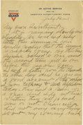 Basketball Collectibles:Others, 1918 James Naismith Handwritten Signed Letter with SignedEnvelope.. Date: July 20, 1918.. Location: France.. Length i...