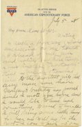 "Basketball Collectibles:Others, 1918 James Naismith Handwritten Signed Letter.. Date: July 5,1918.. Location: France.. Length in pages: Four, on ""YMC..."