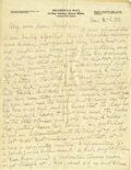 Basketball Collectibles:Others, 1917 James Naismith Handwritten Signed Letter with SignedEnvelope.. Date: August 6, 1917.. Location: San Francisco, Cal...