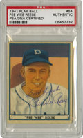Autographs:Sports Cards, 1941 Play Ball Signed Pee Wee Reese # 54 PSA Authentic. Hall ofFame favorite Pee Wee Reese has left his perfect signature ...