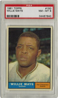 Baseball Cards:Singles (1960-1969), 1961 Topps Willie Mays #150 PSA NM-MT 8. Desirable PSA 8 Hall of Fame features Willie Mays -- a man among the finest player...