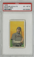 Baseball Cards:Singles (Pre-1930), 1909-11 T206 Wildfire Schulte Front View PSA EX-MT 6. Offered hereis a fine example T206 card featuring the slugger Wildfi...
