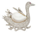 Estate Jewelry:Brooches - Pins, Diamond, Mabe Pearl, Ruby, White Gold Brooch. ...