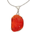 Estate Jewelry:Necklaces, Fire Opal, Colored Diamond, Diamond, Gold Necklace. ...