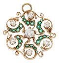Estate Jewelry:Pendants and Lockets, Diamond, Emerald, Gold Pendant-Brooch. ...