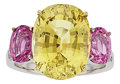 Estate Jewelry:Rings, Chrysoberyl, Pink Sapphire, Diamond, White Gold Ring. ...