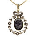 Estate Jewelry:Pendants and Lockets, Jet, Diamond, Gold Pendant-Necklace. ... (Total: 2 Items)