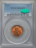 Lincoln Cents: , 1947 1C MS66 Red PCGS. CAC. PCGS Population (575/22). NGC Census: (859/24). Mintage: 190,555,008. Numismedia Wsl. Price for...