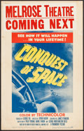 "Movie Posters:Science Fiction, Conquest of Space (Paramount, 1955). Window Card (14"" X 22"").Science Fiction.. ..."