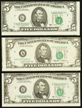 Error Notes:Error Group Lots, 1980's $5 Federal Reserve Note Miscut Trio.. ... (Total: 3 notes)
