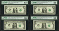 Fr. 1921-C* $1 1995 Federal Reserve Notes. Eight Consecutive Examples. PMG Graded
