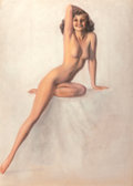 Pin-up and Glamour Art, Rolf Armstrong (American, 1889-1960). Nude with Right Arm onHead, circa 1950. Pastel on board. 42 x 30 in. (sight). Sig...