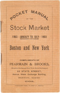 Books:Americana & American History, Frank A. Ruggles, editor. Pocket Manual of the Stock Market 1903- January to July - 1903; Boston and New York. New ...