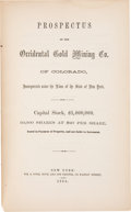 Books:Americana & American History, [Occidental Gold Mining Co]. Prospectus of the Occidental GoldMining Co. of Colorado,.... New York: 1864. First...
