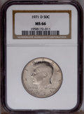 Kennedy Half Dollars: , 1971-D 50C MS66 NGC. NGC Census: (135/34). PCGS Population(643/181).Mintage: 302,097,408. Numismedia Wsl. Price: $22. (#67...