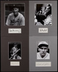 Baseball Collectibles:Others, Lindstrom, Hubbell, Waner and Greenberg Signed Cut SignatureDisplays (4)....