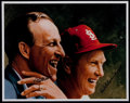 Baseball Collectibles:Photos, Stan Musial and Red Schoendienst Multi Signed Oversized Print....