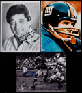 Football Collectibles:Photos, Joe Namath, Y.A. Tittle and Gale Sayers Signed Photographs (3)....