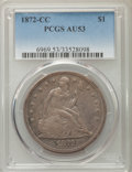 1872-CC $1 AU53 PCGS. PCGS Population (6/39). NGC Census: (7/23). Mintage: 3,150. Numismedia Wsl. Price for problem free...