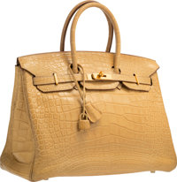 Hermes 35cm Matte Mais Alligator Birkin Bag with Gold Hardware M Square, 2009 Very Good to Excell