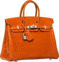 Luxury Accessories:Bags, Hermes Extraordinary Collection 25cm Diamond, Shiny Orange H NiloCrocodile Birkin Bag with 18K White Gold Hardware. I Squ...