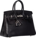 Luxury Accessories:Bags, Hermes 25cm Black Nilo Lizard Birkin Bag with Palladium Hardware.M Square, 2009. Very Good to Excellent Condition. ...