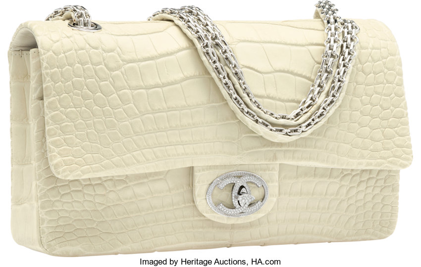 c023b60be104 ... Luxury Accessories:Bags, Chanel Limited Edition Matte White Alligator  Diamond Forever FlapBag with 18K ...