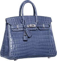 Hermes 25cm Shiny Blue Brighton Nilo Crocodile Birkin Bag with Palladium Hardware N Square, 2010